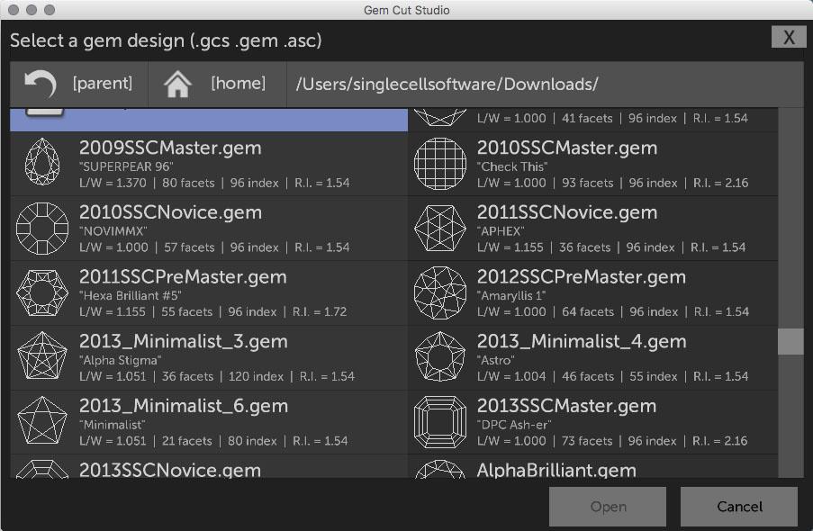 Downloading and Importing gem designs – Gem Cut Studio